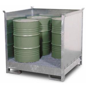 Depozit substanțe periculoase 4 P2-O din oțel zincat pentru 4 butoaie de 200 litrii