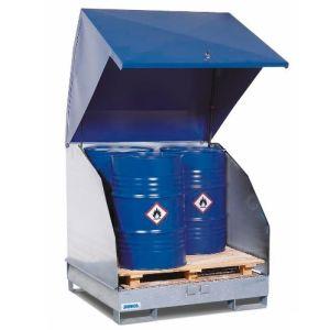 Depozit de substante periculoase 4 GST-KS din oțel zincat pentru 4 butoaie la 200 litrii