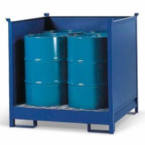 Depozit substanțe periculoase 4 P2-O din oțel vopsit pentru 4 butoaie de 200 litrii
