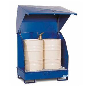 Stație de depozitare 2 GST-KS din oțel vopsit pentru 2 butoaie de 200 litrii, cu aerisire naturală