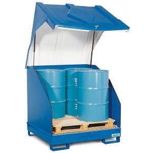 Depozit 4 GST-KC din oțel  pentru 4 butoaie de 200 litrii cu capac din polietilena