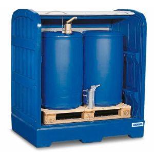 Depozit PolySafe-Depot PSR 8.12 pentru 2 butoaie de 200 litrii cu grilaj din polietilenă (PE)