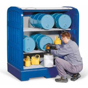 Depozit PolySafe-Depot PSR 8.12 cu grilaj zincat, 2 polițe grilaj zincate si  și 4 seturi de blocaje de butoaie