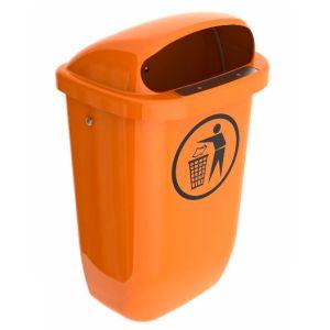Colector deseuri din PE, montare pe perete, portocaliu, 50 litri
