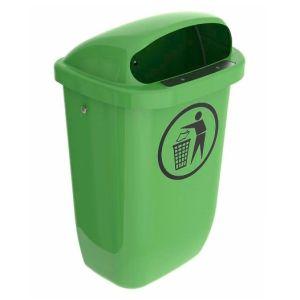 Colector deseuri din PE, montare pe perete, verde, 50 litri