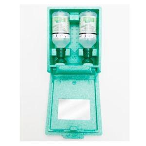 Kit de interventie pentru ochi in cutie de perete, cu 2 sticle de solutie oculara