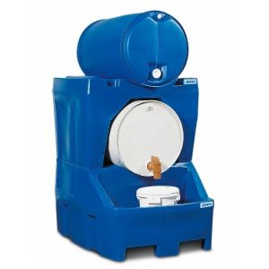Stație de umplere tip RS din polietilenă (PE)  inclusiv suportul de butoi din PE, pentru 2 butoaie de 200 litrii