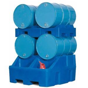 Statia de umplere tip RS din polietilena (PE), cu paleti pentru butoi din PE, pentru 4 butoaie de 200 litri