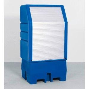 Depozit PolySafe-Depot PSR 8.8 pentru 1 butoi de 200 litrii cu grilaj din polietilenă (PE) cu jaluza