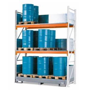 Raft de paleti Combi 4 S24-I pentru 24 butoaie de 200 litrii, cu polita de baza si cuva de retentie din otel zincat