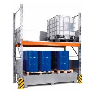 Raft de paleti Combi 3 K4-I  pentru 4 IBC de 1000 litrii si polita de bază, cu cuva de retentie zincata