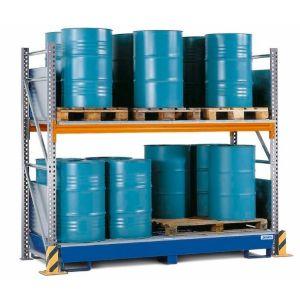 Raft de paleti Combi 2 S16-I pentru 16 butoaie de 200 litrii cu polita de bază si cuva de retentie otel vopsit