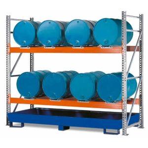 Raft de paleti Combi 2 L8-I pentru 8 butoaie de 200 litrii orizontal, polita de bază, cuva de retentie din otel vopsit