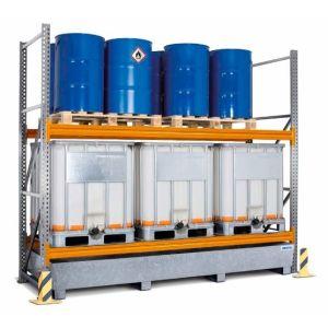 Raft de paleți PR 33.25 pentru paleti sau IBC, cu 2 nivele de depozitare si polita de baza, cuva de retentie zincat