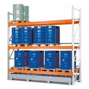 Raft de paleți PR 33.37 pentru 12 Euro sau 6 palete chimice, cu 3 nivele de depozitare si polita de baza