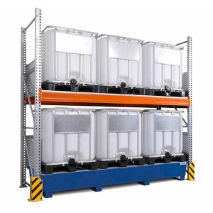 Raft de paleti Combi-Shelf 3 K6-I pentru 6 IBC de 1000 litrii si polita de bază, cuva de retentie din otel vopsit