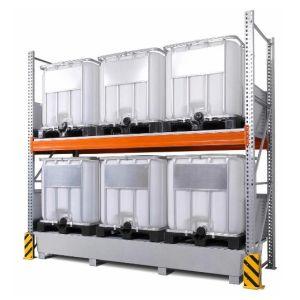 Raft de paleti 3 K6-I pentru 6 IBC de 1000 litrii cu polita de bază, cuva de retentie zincat