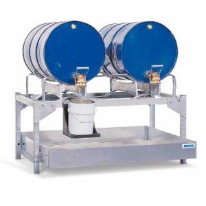 Statie de umplere  AS-P din otel zincat cu rama de butoi zincat pentru 2 butoaie de 200 litrii