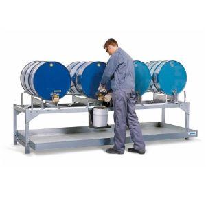 Statie de umplere AS-P din otel zincat cu 2 paleti din PE, pentru 4 butoaie de 200 litrii