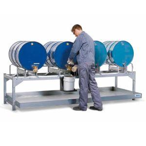 Statie de alimentare AS-P V50 din otel zincat pentru 4 butoaie de 200 litri, cu 2 paleti pentru butoi PE