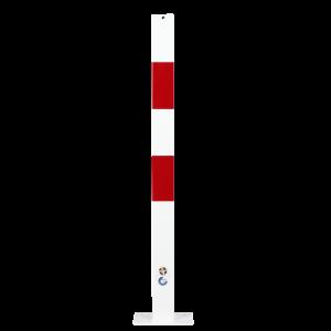Stalp protectie cu placa de baza alb/rosu 70x70mm