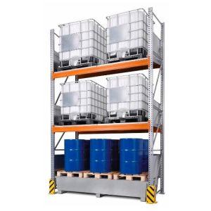 Raft de paleti 4 K6-I pentru 6 IBC de 1000 litrii cu polita de bază si cuva de retentie zincat