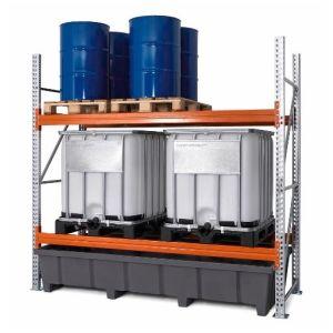 Raft de paleți PRP 27.27 pentru 6 europalet sau 4 paleți chimice sau 4 IBC, cu 2 nivele de depozitare si polita de baza