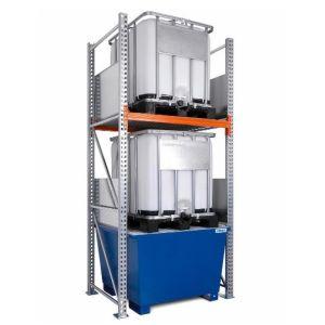 Raft de paleti 3 K2-I pentru 2 IBC de 1000 litrii, polita de bază si cuva de retentie din otel vopsit