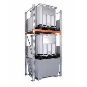 Raft de paleti 3 K2-I pentru 2 IBC de 1000 litrii, polita de bază si cuva de retentie din otel zincat