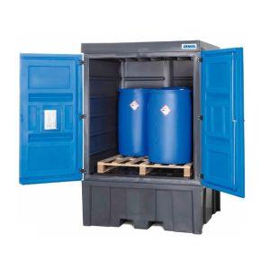 Dulap depozitare PolySafe tip C pentru 4 butoaie de 200 litrii sau 1 IBC de 1000 litrii din polietilena