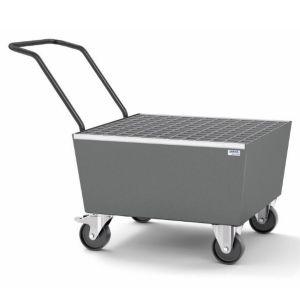 Cuva mobila cu roti electroconductive pro-line din otel vopsit cu grilaj zincat pentru 1 butoi de 200l