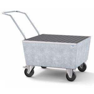 Cuva mobila cu roti electroconductivi pro-line din otel zincat cu grilaj zincat pentru 1 butoi de 200l