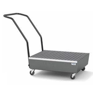 Cuva mobila cu roti electroconductive pro-line din otel vopsit cu grilaj zincat pentru 2 butoaie de 60l