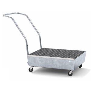 Cuva mobila cu roti electroconductive pro-line din otel zincat cu grilaj zincat pentru 2 butoaie de 60l