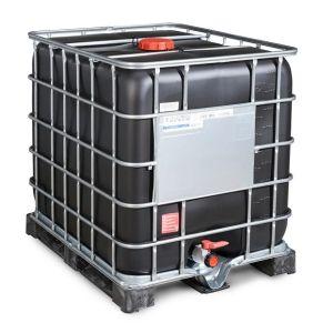 Container negru tip IBC cu palet PE 1000 litri Ø 150
