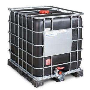 Container negru IBC-UN cu palet PE 1000 litri Ø 150