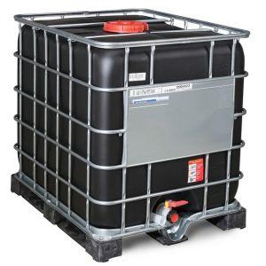 Container negru IBC-UN cu palet PE 1000 litri Ø 225