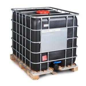 Container negru IBC-UN reconditionat palet lemn 1000 litri Ø 225