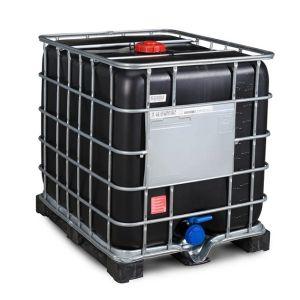 Container negru IBC-UN reconditionat cu palet PE 1000 litri Ø 150