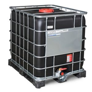 Container negru IBC-UN reconditionat cu palet PE 1000 litri Ø 225