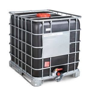 Container negru IBC-UN reconditionat cu palet otel 1000 litri Ø 225