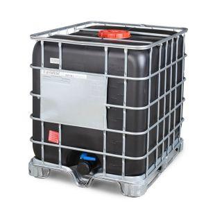 Container negru tip IBC-UN reconditionat palet otel 1000 litri Ø 225