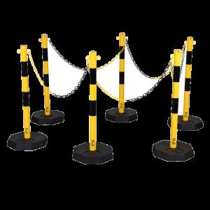 Set 6 stalpi otel protectie lant galben/negru