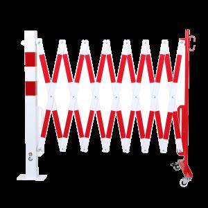 Gard protectie flexibil roti si stalp patrat fixare podea alb/rosu 4000mm
