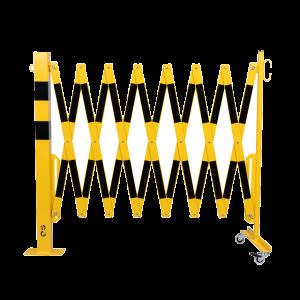 Gard protectie flexibil roti si stalp patrat fixare podea galben/negru 4000mm