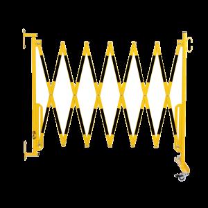 Gard protectie flexibil roti si fixare in perete galben/negru 3600mm