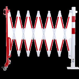 Gard protectie flexibil roti si stalp fixare podea alb/rosu 3600mm
