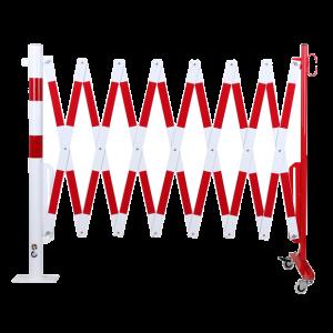 Gard protectie flexibil roti si stalp fixare podea alb/rosu 4000mm