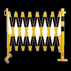Gard protectie flexibil roti si stalp fixare podea galben/negru 4000mm