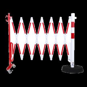 Gard protectie flexibil roti si stalp cu baza mobila alb/rosu 3600mm